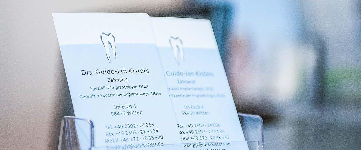 Visitenkarten – Partner der Zahnarztpraxis drs. Kisters in Witten